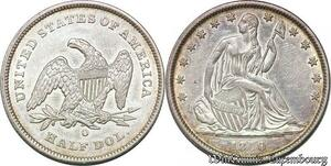 S7256 Scarce USA 50 Cents Half Dollar Liberty Seated 1840 O Silver AU !