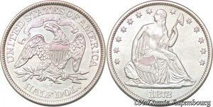 S7257 Scarce USA 50 Cents Half Dollar Liberty Seated 1872 S Silver AU !