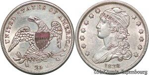 S7260 Scarce USA Quarter Dollar 25 Cents Capped Bust 1838 Silver AU !