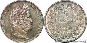 S7268 5 Francs Louis Philippe 1845 W Lille Argent Silver superbe ++++