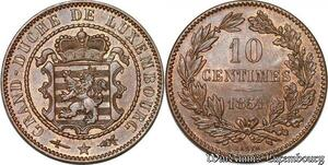 S7273 Rare Luxembourg 10 Centimes Guillaume III 1854 Bruxelles UNC !