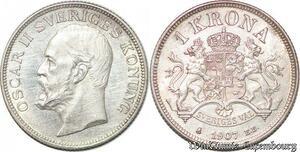 S7285 Sweden Suède Krone 1907 Oskar II Silver AU ->Make offer