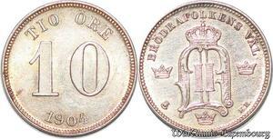 S7289 Sweden 10 Öre 1904 Oskar II Silver ->Make offer