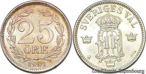 S7294 Sweden 25 Öre Oskar 1907 ST Silver AU UNC ->Make offer