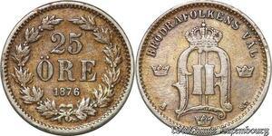 S7296 Sweden 25 Öre Oskar 1876 EB Silver ->Make offer