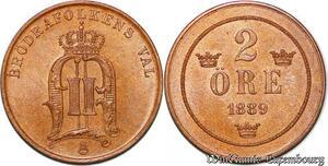 S7301 Schweden Suede Oscar I II 2 Ore 1889 Uncirculated ->Make offer