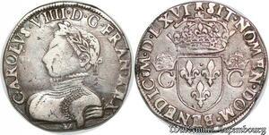 S7334 Rare Charles IX 1560-1574 Teston 2ème type 1566 M Toulouse Argent Silver