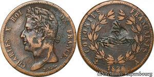 S7348 Guyane Charles X 5 Centimes pour les colonies 1828 Paris ->Faire Offre