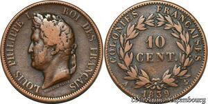S7351 Louis-Philippe 10 Centimes des colonies Francaises Guadeloupe 1839 Paris