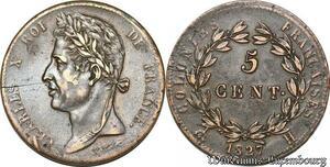 S7352 Charles X 5 Centimes pour les colonies 1827 La Rochelle Splendide