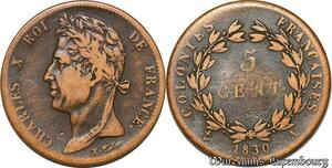 S7353 Colonies Guyana Guyane Charles X 5 Centimes 1830 A Paris ->Faire Offre