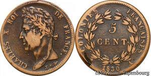 S7355 Colonies Guyana Guyane Charles X 5 Centimes 1830 A Paris ->Faire Offre