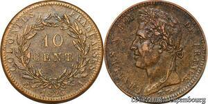 S7357 Rare Colonies 10 Centimes Guyane et Sénégal Charles X 1825 AU superbe