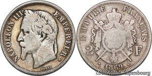 S7360 2 Francs Napoléon III 1869 A Paris Argent Silver ->Faire Offre
