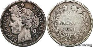 S7361 2 Francs Ceres 1871 K Bordeaux M à 3h Argent Silver ->Faire Offre