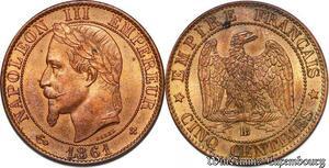 S7376 Rare ! 5 Centimes Napoléon III 1861 BB Splendide ->Faire Offre