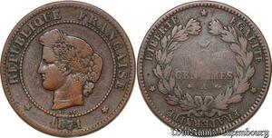 S7377 5 Centimes Ceres 1871 A Paris ->Faire Offre