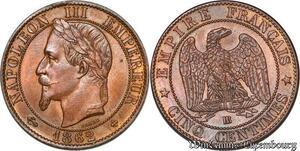 S7378 Rare ! 5 Centimes Napoléon III 1862 BB Splendide ->Faire Offre