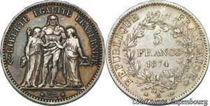 S7395 5 Francs Hercule 1874 A Paris Argent Silver ->Faire Offre