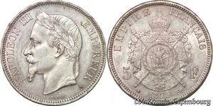 S7404 5 Francs Napoléon III 1870 A Paris Argent Silver superbe