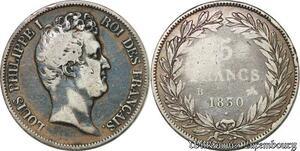 S7408 5 Francs Louis Philippe 1830 B Lille Tioler Tranche Creux Argent Silver