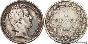 S7417 Rare 1 FrancLouis Philippe 1831 A Paris Argent Silver ->Faire Offre