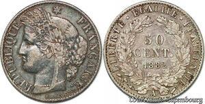 S7426 50 Centimes Ceres 1882 A Paris Argent Silver ->Faire Offre
