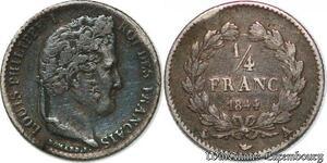 S7430 1/4 FrancLouis Philippe 1844 A Paris Argent Silver ->Faire Offre