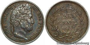 S7433 25 Centimes Louis Philippe 1845 B Rouen Argent Silver superbe ++