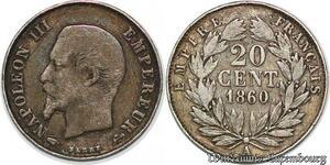 S7434 20 Centimes Napoléon III 1860 A Paris Argent Silver ->Faire Offre