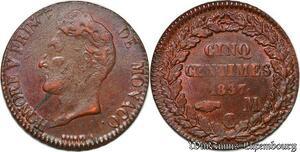 S7440 Monaco Principauté 5 Centimes Honoré V 1837 Lustre ->Faire Offre