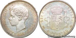 S7455 Rare ! 5 Pesetas Alfonso XIII 1898 (98) SG V Uncirculated ! Silver