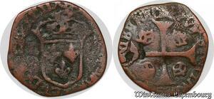 S7467 Rare Faux d'époque Fauté Louis XIII douzain aux 4 couronnes cuivre