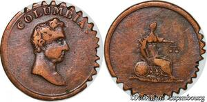 S7508 Great Britain Columbia Farthing Token 1820 1830 Wellington