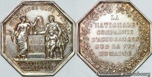 S7547 Jeton La Nationale Compagnie Assurance vie 1830 Argent Silver superbe