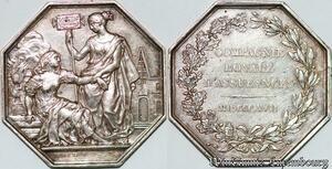 S7549 Rare Jeton Octogonal Compagnie Royale Assurances 1817 Louis XVIII Argent