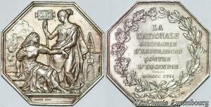 S7552 Jeton Octogonal Compagnie Royale Assurances Incendie Paris 1817 Argent