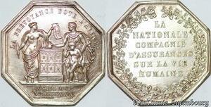 S7553 Jeton La Nationale Compagnie d'Assurance vie humaine 1830 Argent superbe