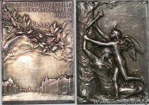 S7565 Plaque Exposition universelle internationale Paris 1900 SUP Silvered