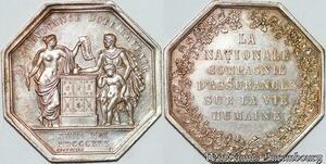 S7578 Jeton La Nationale Compagnie d'Assurance vie humaine 1830 Argent SUP