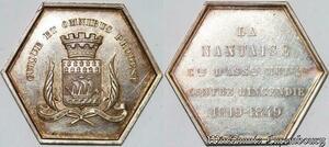 S7580 Jeton Octogonal La Nantaise Société contre l'Incendie 1819-1849 SUP