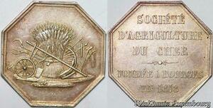 S7581 Jeton Octogonal Société D'Agriculture Cher Bourges 1818 Argent