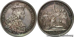 S7587 Rare ! Champagne Louis XV Jeton du sacre 25 octobre 1722 Argent superbe
