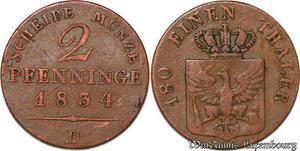 S7601 German States 2 Pfennig 1834 D Brandenburg-Preußen Friedrich Wilhelm III