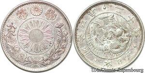 S7609 Rare Japon 20 sen Meiji 1871 Silver AU - MS ! ->Make offer
