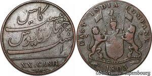 S7613 Inde Britannique British India 20 Cash 1803 East India Company