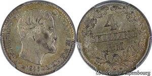 S7670 Danmark 4 Skilling Rigsmønt Frederik VII 1856 VS PCGS MS63