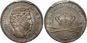 S7674 Danmark 3 RingsBank Skilling Christian VIII 1842 PCGS MS64 ->Faire Offre