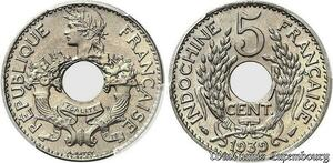 S7685 Rare French Indo China 5 Cents 1939 PCGS MS67 Maillechort->Faire Offre