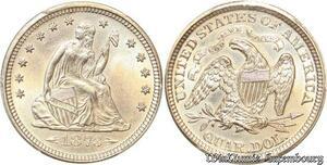 S7696 Rare USA Liberty Seated Quarter Dollars 25 Cents 1873 PCGS UNC